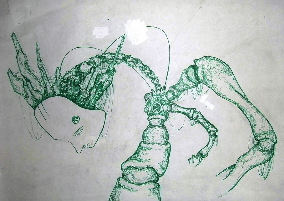 Sketch of a broken cyborg by Apo Xen.