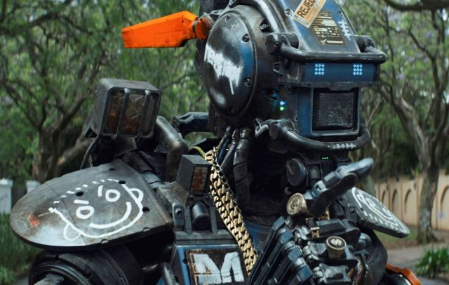 A still from Chappie, the movie about policebots and Die Antwoord.
