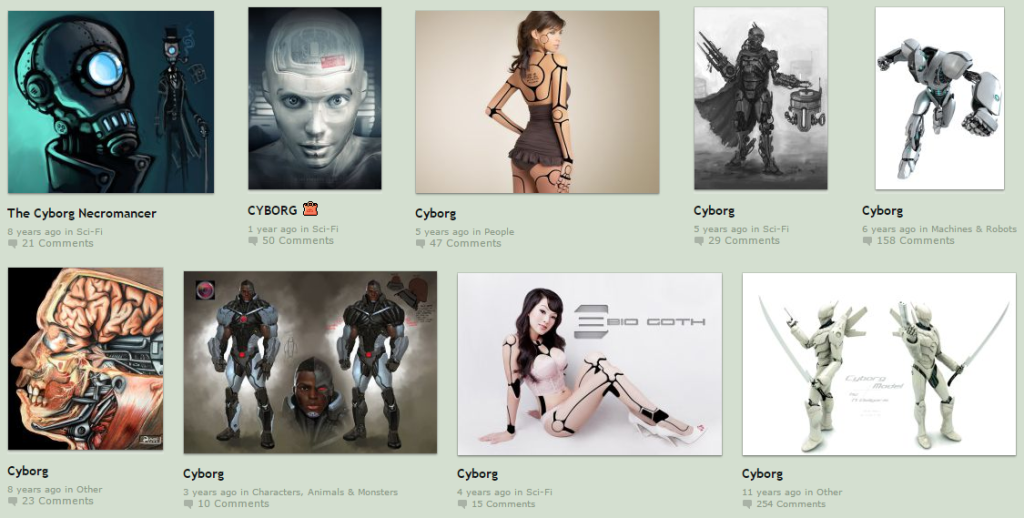 "Some of DeviantArt's ""Popular All Time"" search results for the term ""cyborg""."