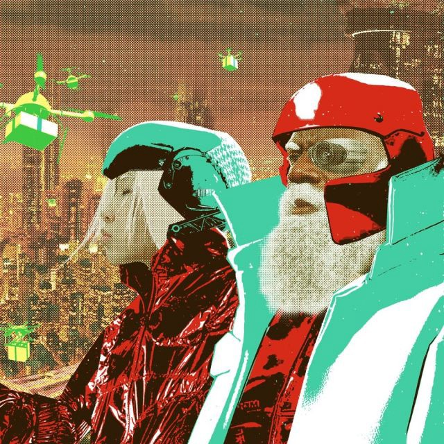 """""""Santa and Ms. Claus deploy a swarm of Reindrones bearing gifts for a future metropolis."""" Courtesy of Sediment Press."""