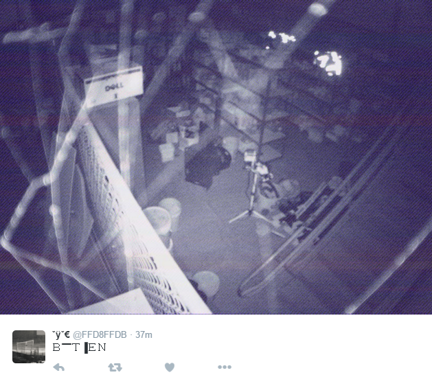 Minnesota programmer Derek Arnold made a bot called @FFD8FFDB that tweets color-processed stills from obscure security cameras.