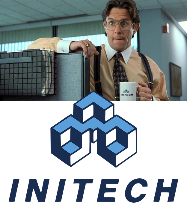 An unexpectedly cyberpunk logo: Initech, the white-collar hellscape from Office Space. Graphic cribbed from Alex Bigman on 99designs.