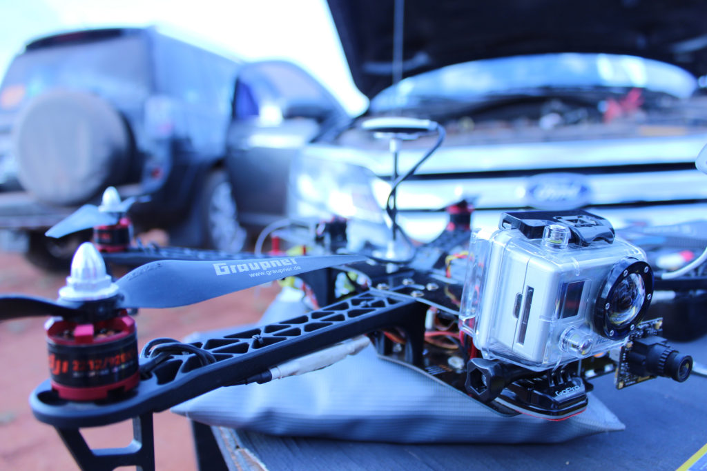 A quadcopter is one of many cyberpunk gadgets. Photo by Rafael Benevides.