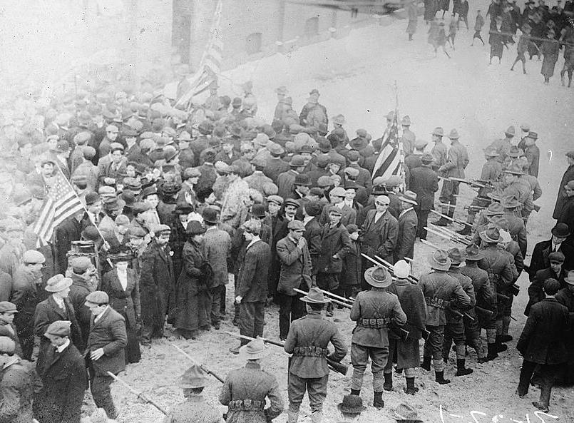 "The ""Bread and Roses"" Lawrence textile strike of 1912. Photo via Library of Congress."