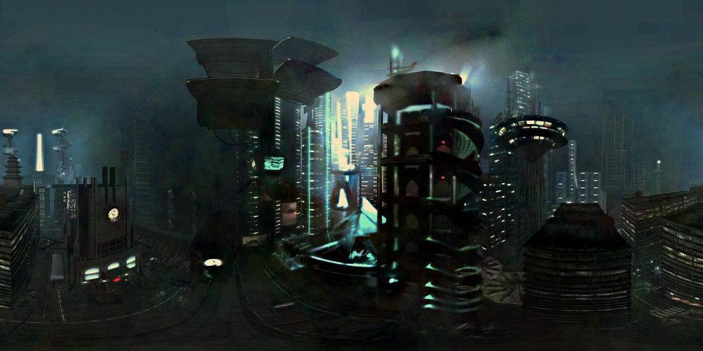A dark cyberpunk cityscape. Image via ▓▒░ TORLEY ░▒▓.