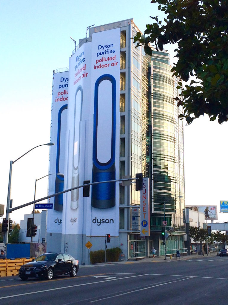 huge Dyson billboard in smoggy Los Angeles