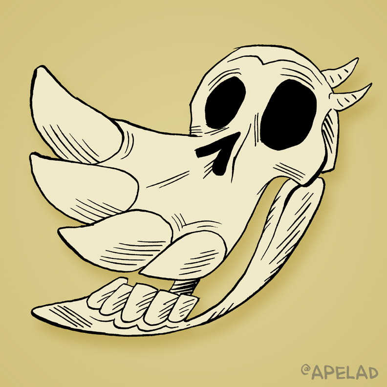 Twitter's logo as a skull, by Adam Koford.