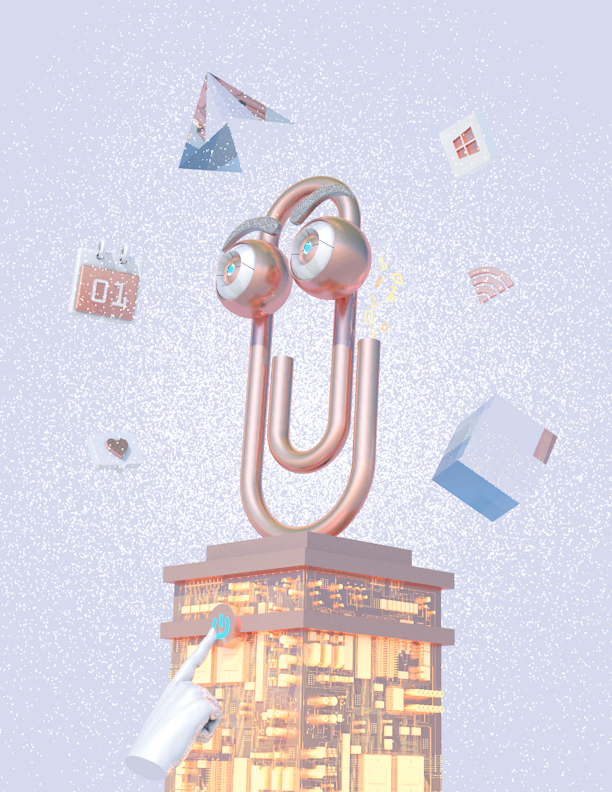 a pastel vaporwave portrait of Microsoft's Clippy by Blake Kathryn