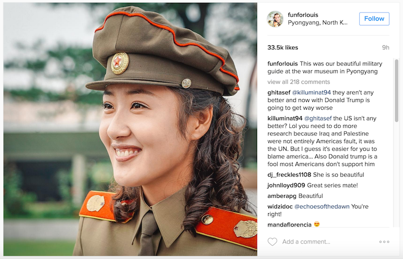 "The ""beautiful military guide at the war museum"", praised by Louis Cole on Instagram."