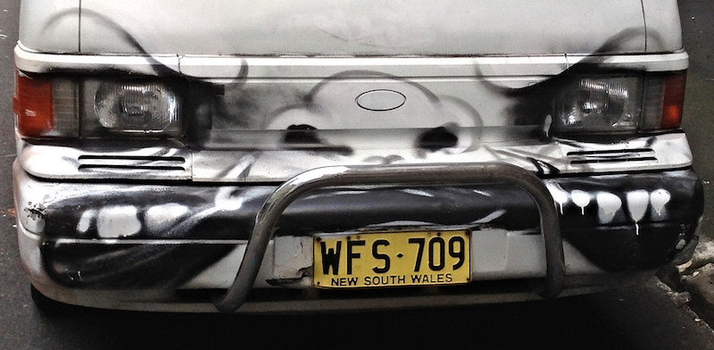 Angry car graffiti. Photo by Dushan Hanuska.