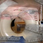 MRI machine collage. Artwork by Liz West.