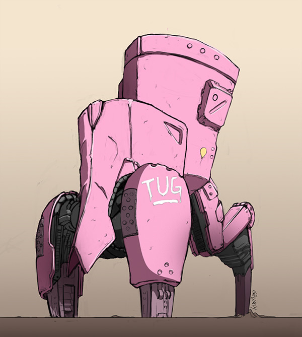 Pink mecha. Artwork by Brian Clarke.