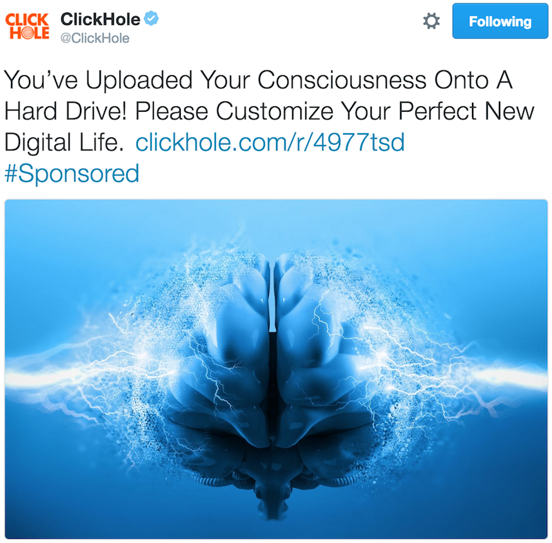 ClickHole uploaded consciousness