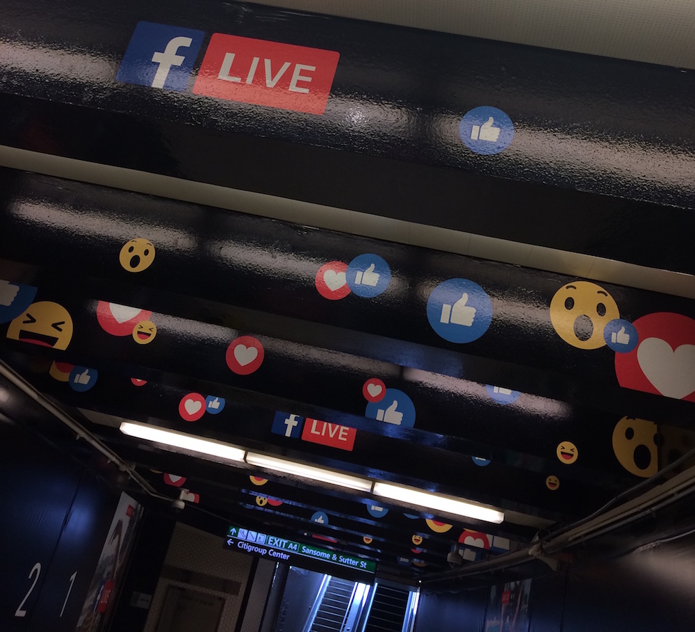 Facebook reaction emoji at Montgomery BART