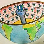 Facebook as a global panopticon. Artwork by Joelle L.
