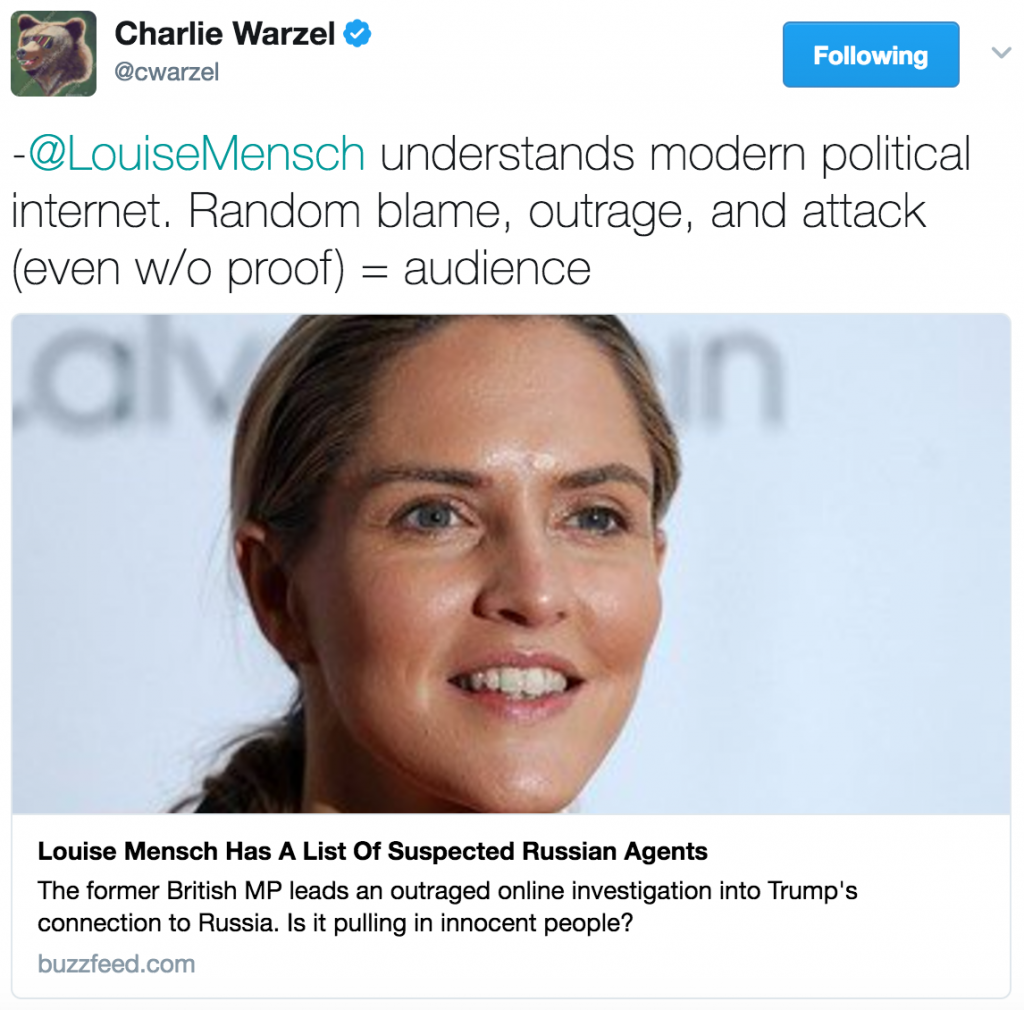 Tweet by Charlie Warzel.