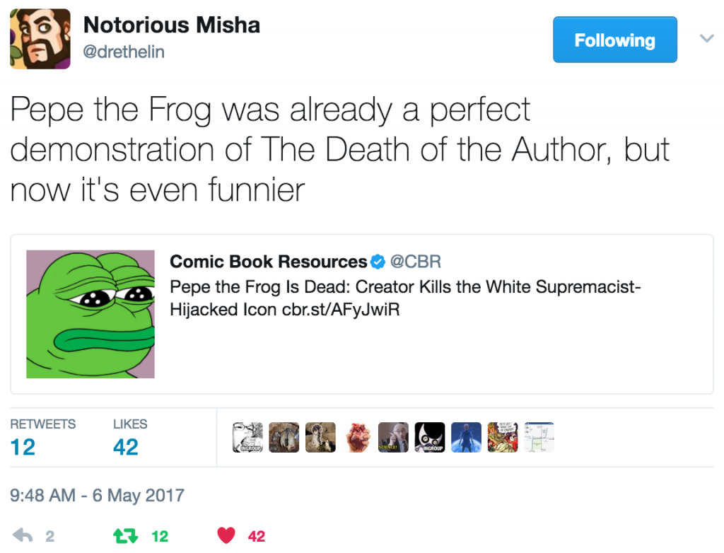 """Pepe the Frog was already a perfect demonstration of The Death of the Author, but now it's even funnier"""